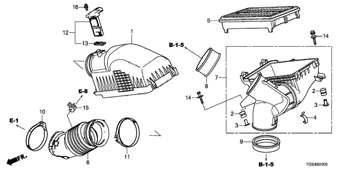 17220 5j6 a10 genuine honda element assy air cleaner. Black Bedroom Furniture Sets. Home Design Ideas