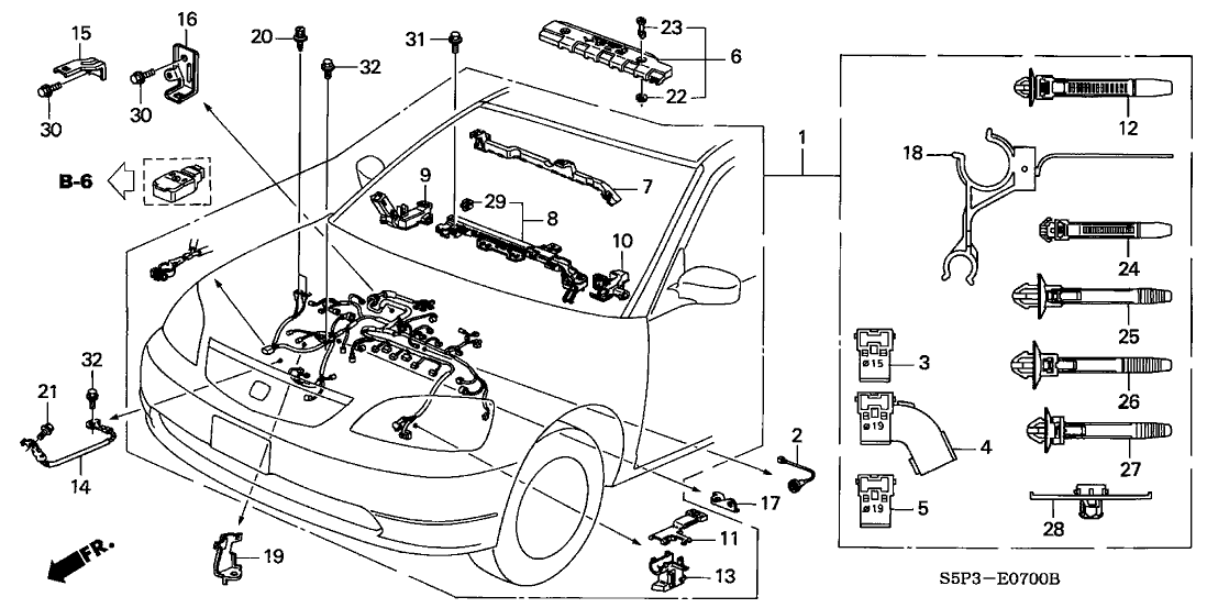 2004 honda civic 2 door ex ka 4at engine wire harness 1997 Honda Civic Ex Engine Diagram