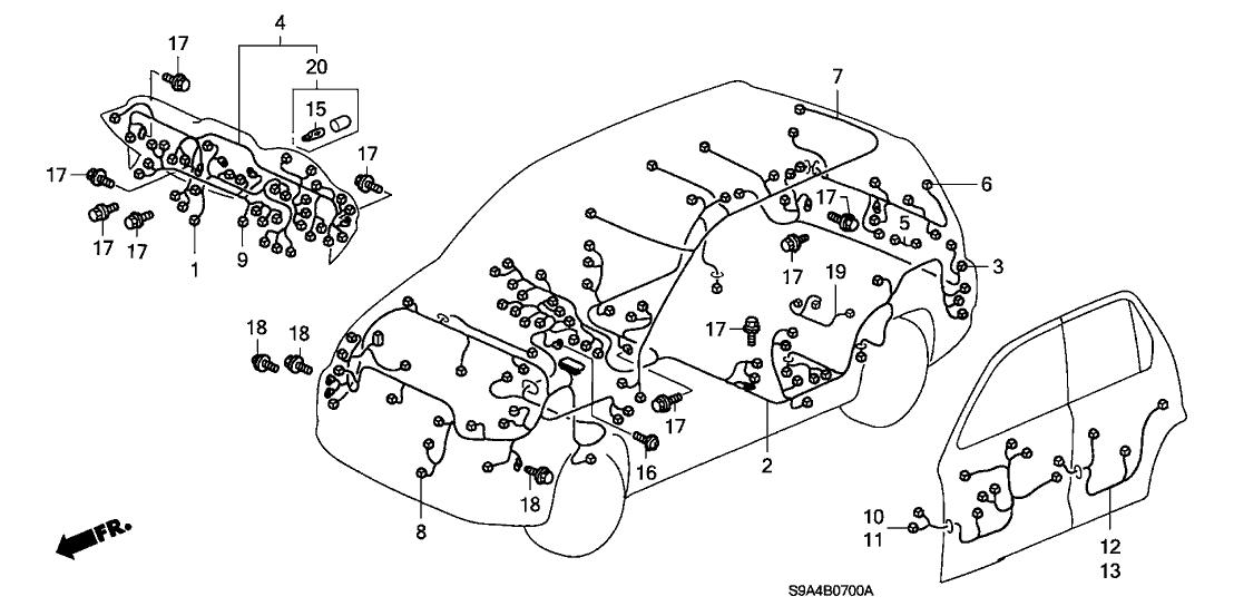 2005 Honda CR-V 5 Door EX KA 5AT Wire Harness - Honda Parts NowHonda Parts Now