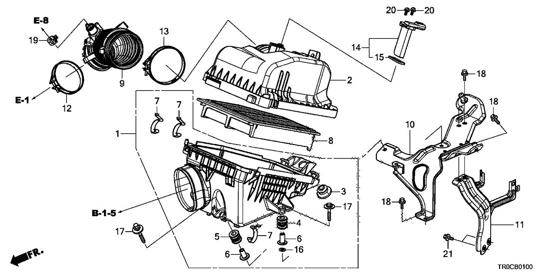 17220-R1A-A01 - Genuine Honda Element Assy., Air Cleaner
