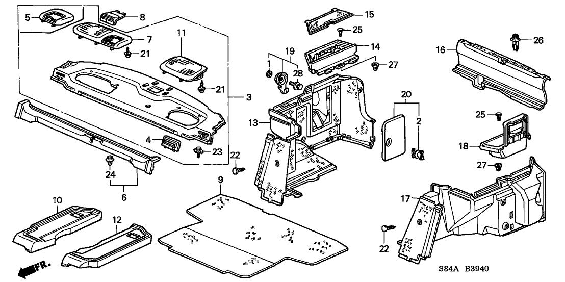 84519 s84 a00zc genuine honda lid center seat belt yr169l. Black Bedroom Furniture Sets. Home Design Ideas