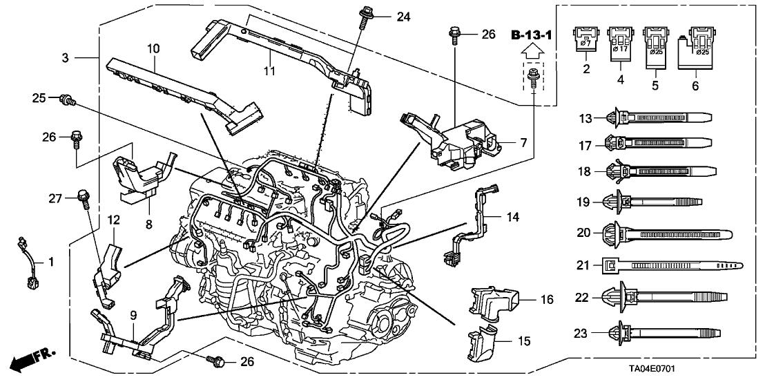 32110-R70-A51 - Genuine Honda Wire Harness, Engine