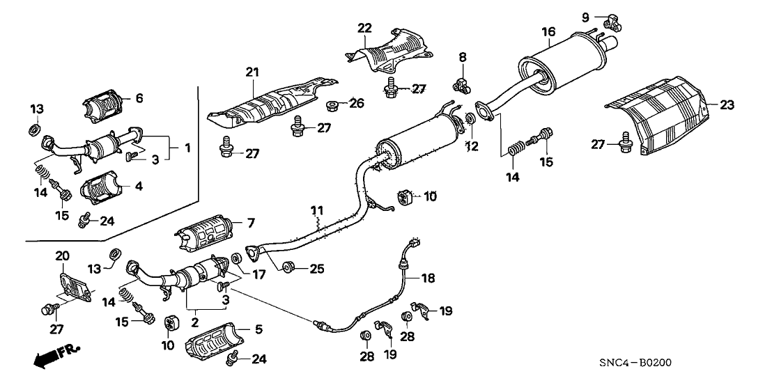 diagram of honda civic exhaust system list of wiring diagrams toyota camry exhaust system diagram 2007 civic exhaust pipe muffler parts