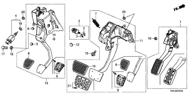 [SCHEMATICS_4NL]  46600-TEA-L81 - Genuine Honda Pedal Assy., Brake | L81 Engine Diagram |  | Genuine Honda Parts