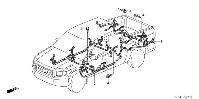 2007 Honda Ridgeline 4 Door RTX KA 5AT Wire HarnessHonda Parts